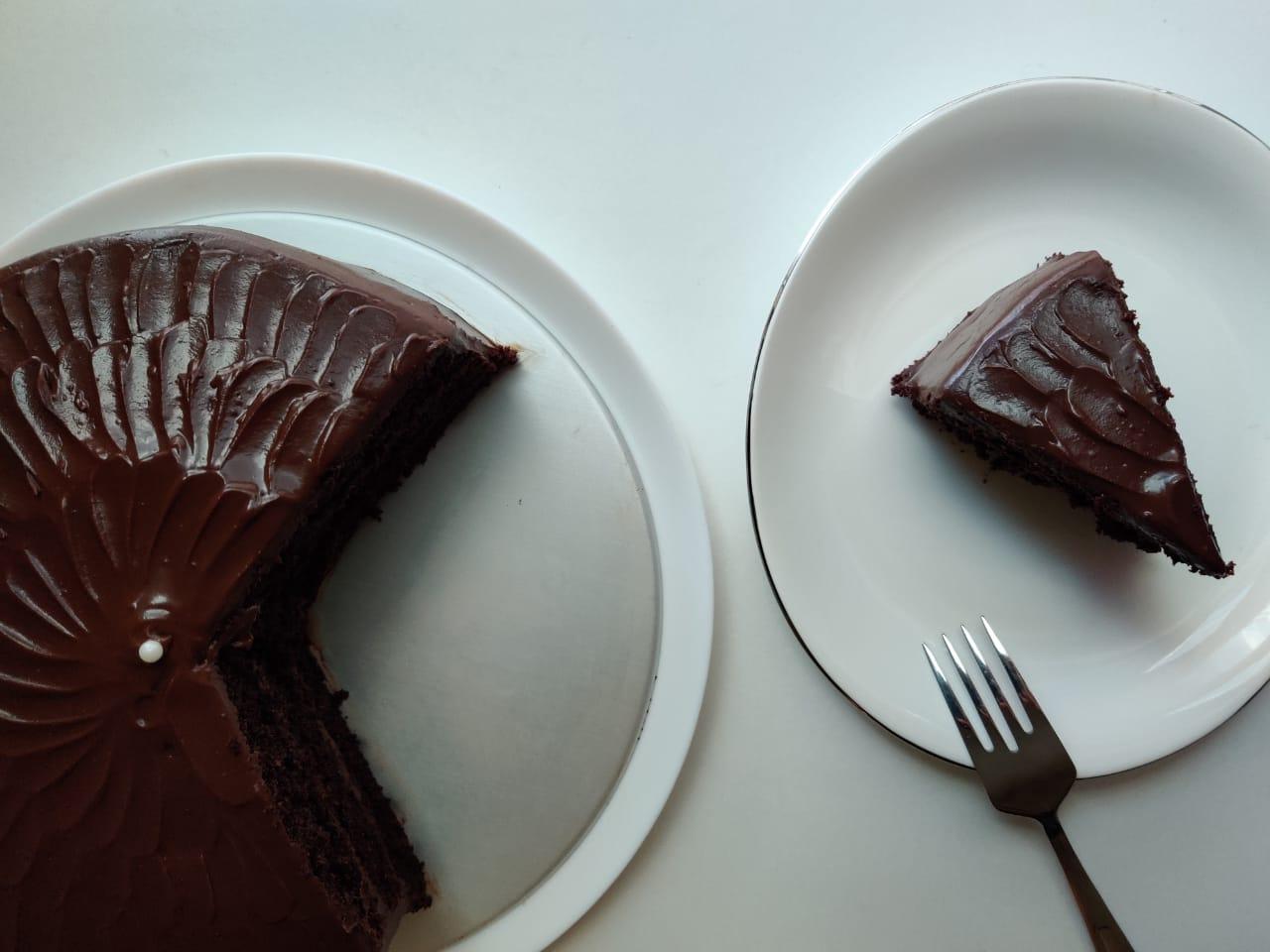 Dark Chocolate Cake with Dark Chocolate Sour Cream Frosting